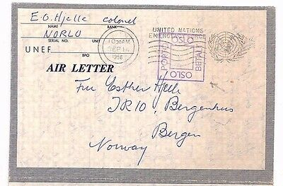 BF254 1958 UN FORCES NORWAY Bergen Oslo Airletter