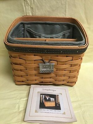 Longaberger Remote Control Basket With Divider & Plaid Liner 2002 Daddy's Caddy
