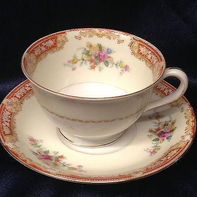 Kingswood Occupied Japan Windsor Footed Cup & Saucer 8 Oz Floral Bouquets Rust