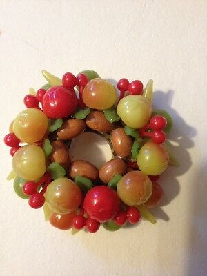 """Vintage Plastic Lucite Signed Germany 2"""" Clourful Pin Cherry tomato fruit (380)"""