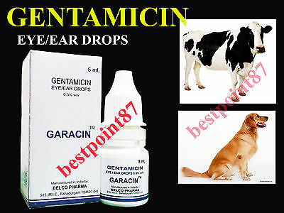 Gentamicin Eye Ear Drops for Animals Birds Pets Treatment against eye infections