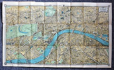 Original 1907 Birds-eye Pictorial Map of London - Stunning Edwardian large map