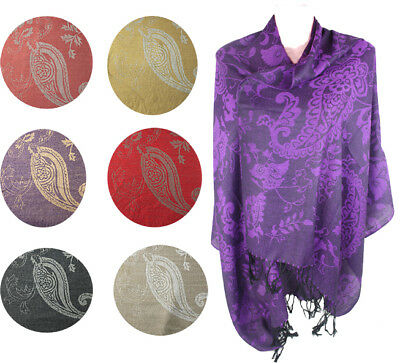 Job Lot of 12 Pashmina Jacquard Scarf Shawl Wraps High Standard Quality