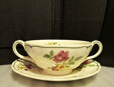 3 Marlborough Royal Petal China Soup Dishes w/Saucers-Made in Grindley England