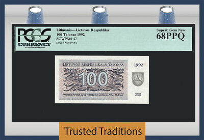 Tt Pk 42 1992 Lithuania 100 Talonas Pcgs 68 Ppq Superb Gem New Population Of Two