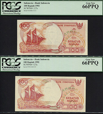 "TT PK 127a 1992 INDONESIA 100 RUPIAH ""SAILBOAT"" PCGS 66 PPQ SUPERB SET OF TWO!"