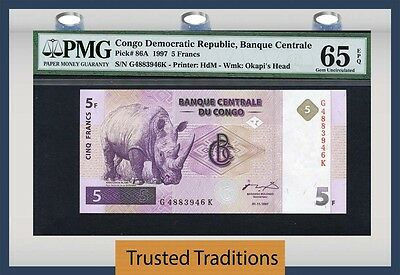 "Tt Pk 86A 1997 Congo Democratic Republic 5 Francs ""rhino"" Pmg 65 Epq None Finer"