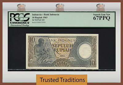 Tt Pk 89 1963 Indonesia 10  Rupiah Pcgs 67 Ppq Superb Gem New None Finer!