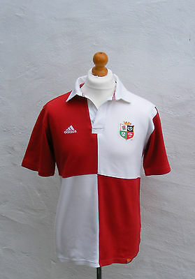 Vintage British Lions Adidas rugby shirt small red white mens polo