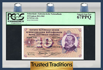 TT PK 45h 1963 SWITZERLAND 10 FRANKEN PCGS 67 PPQ SUPERB POP ONE FINEST KNOWN!