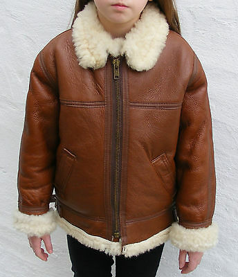 Vintage tan brown Sheepskin leather flying jacket girl 10-11 bomber B3 boy 9 -10