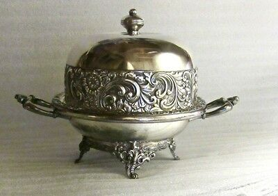 Antique Rogers Bros. Triple  Silver Plated Round Domed Butter Dish