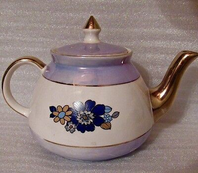 Vintage Gibsons Staffordshire England Teapot, Floral w/Gold Trim