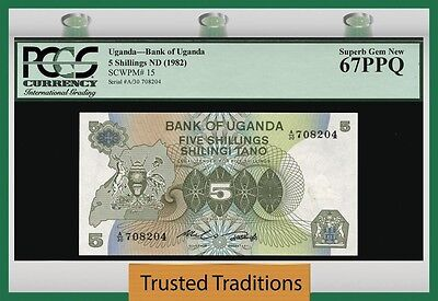 Tt Pk 15 1982 Uganda 5 Shillings Pgcs 67 Ppq Superb Gem New Population Of One
