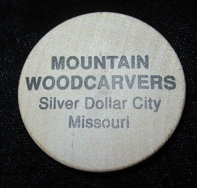 Vintage Wooden Nickel - Mountain Woodcarvers - Silver Dollar City, Missouri