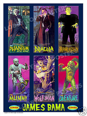 James Bama Aurora Model Box Art Print # 1 Dracula Mummy Wolfman Frankenstein