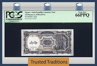 TT PK 183h 1940 EGYPT ARAB REPUBLIC 10 PIASTRES PCGS 66 PPQ GEM NEW FINEST KNOWN