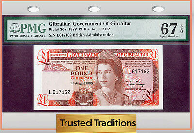 TT PK 20e 1988 GIBRALTAR 1 POUND PMG 67 EPQ SUPERB GEM UNCIRCULATED NONE FINER!