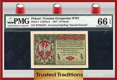 Tt Pk 7 1917 Poland 1/2 Marki Pmg 66 Epq Gem Uncirculated!