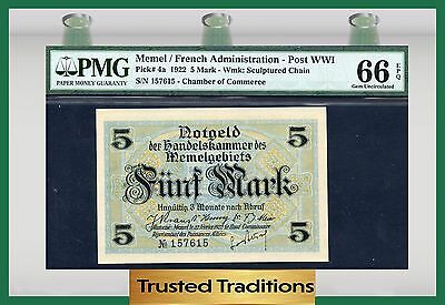 TT PK 4a 1922 MEMEL / FRENCH ADMINISTRATION - POST WWI 5 MARK PMG 66 EPQ GEM