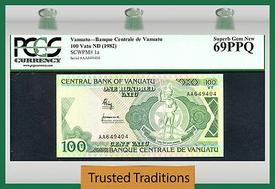 TT PK 1a 1982 VANUATU 100 VATU PCGS 69 PPQ SUPERB GEM NEW POP ONE FINEST KNOWN