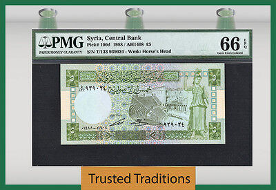 "TT PK 100d 1988 SYRIA 5 POUNDS ""HORSE'S HEAD"" PMG 66 EPQ GEM UNC FINEST KNOWN!"