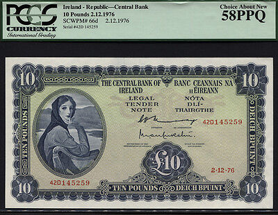TT PK 66d 1976 IRELAND - REPUBLIC 10 POUNDS PCGS 58 PPQ CHOICE ABOUT NEW!