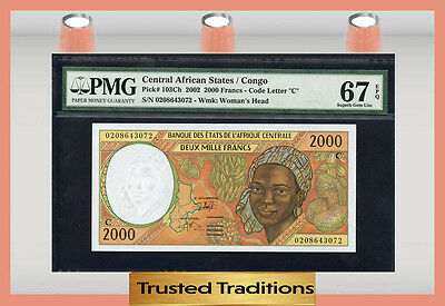 TT PK 103Ch 2002 CENTRAL AFRICAN STATES 2,000 FRANCS PMG 67 EPQ POP 2 NONE FINER