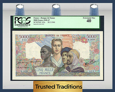 """TT PK 103c 1946 FRANCE 5000 FRANCS """"FRENCH COLONIES"""" PCGS 40 EXTREMELY FINE"""