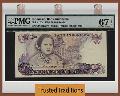 TT PK 126a 1985 INDONESIA 10,000 RUPIAH PMG 67 EPQ SUPERB GEM UNCIRCULATED!