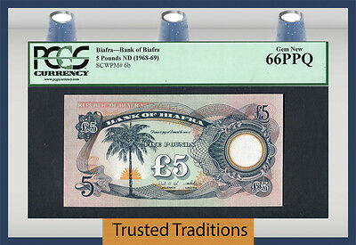 TT PK 6b 1968-69 BIAFRA 5 POUNDS PCGS 66 PPQ TOP POP WITHOUT SERIAL NUMBERS!