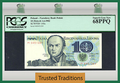 TT PK 148a 1982 POLAND 10 ZLOTYCH PCGS 68 PPQ SUPERB GEM NONE FINER