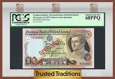 "TT PK 249a-CS2 1977 NORTHERN IRELAND 10 POUNDS ""SPECIMEN"" PCGS 68 PPQ SUPERB"
