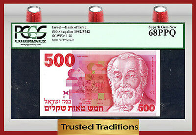 Tt Pk 48 1982 Israel 500 Sheqalim Pcgs 68 Ppq Superb Gem None Graded Finer!