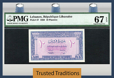 Tt Pk 47 1950 Lebanon 10 Piastres Pmg 67 Epq Superb Gem Unc Top Pop None Finer