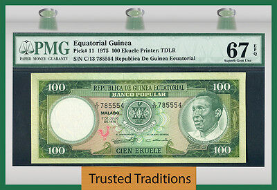 Tt Pk 11 1975 Equatorial Guinea 100 Ekuele Pmg 67 Epq Sole Example In High Grade
