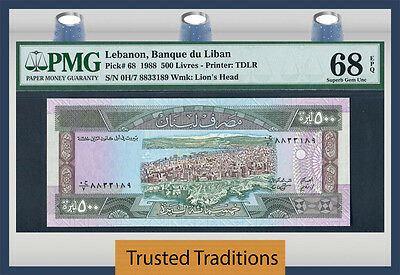 Tt Pk 68 1988 Lebanon 500 Livres Pmg 68 Epq Superb Only One Ever Graded & Known!