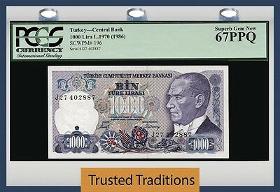 Tt Pk 196 1970 Turkey 1000 Lira Central Bank Pcgs 67 Ppq Superb Gem Finest Known
