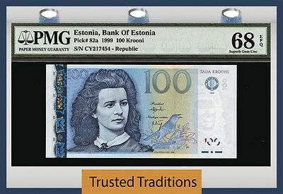 TT PK 82a 1999 ESTONIA 100 KROONI PMG 68 EPQ SUPERB GEM UNCIRCULATED NONE FINER!