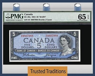 "TT BC-39a 1954 CANADA $5 ""QUEEN ELIZABETH II"" PMG 65 EPQ GEM UNC ONLY FEW FINER"