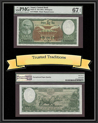 Tt Pk 15 1961 Nepal 100 Rupees Pmg 67 Epq Superb Gem Unc. One Of Two Known