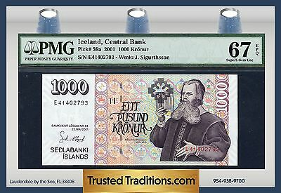 TT PK 59a 2001 ICELAND 1000 KRONUR PMG 67 EPQ SUPERB GEM UNCIRCULATED POP ONE
