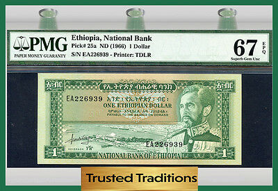 TT PK 25a 1966 ETHIOPIA 1 DOLLAR PMG 67 EPQ SUPERB GEM UNCIRCULATED POP ONE