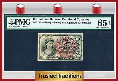 TT FR 1261 10 CENT 4TH ISSUE FRACTIONAL PMG 65 EPQ BLUE RIGHT END 38mm SEAL