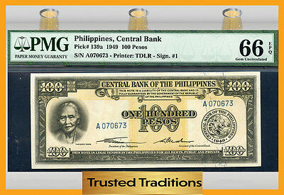 TT PK 139a 1949 PHILIPPINES 100 PESOS PMG 66 EPQ GEM POP THREE NONE FINER!