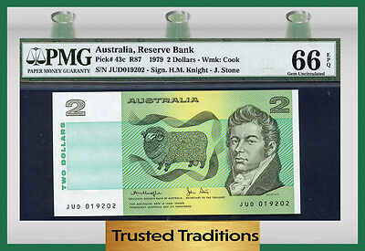 "TT PK 43c 1979 AUSTRALIA 2 DOLLARS ""SHEEP"" PMG 66 EPQ GEM UNCIRCULATED"