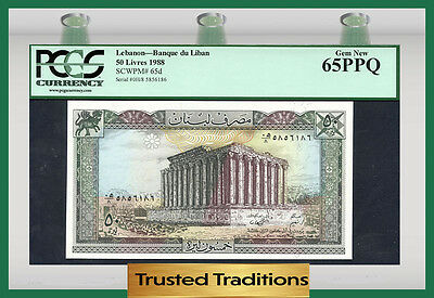 TT PK 65d 1988 LEBANON 50 LIVRES PCGS 65 PPQ GEM NEW POP ONE FINEST KNOWN!