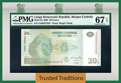 "Tt Pk 94 2003 Congo Dem. Republic 20 Francs ""magnificent Lion"" Pmg 67 Epq Pop 2!"