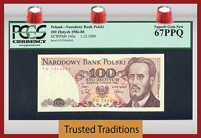 "TT PK 143e 1986-88 POLAND 100 ZLOTYCH ""L. WARYNSKI"" PCGS 67 PPQ ONE OF TWO!"