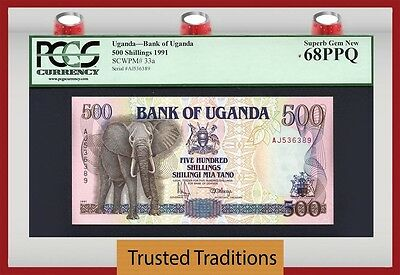 "TT PK 33a 1991 UGANDA 500 SHILLINGS PCGS 68 PPQ ""ELEPHANT WITH TUSK"" SUPERB GEM"